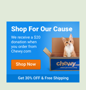 Chewy.com shop for our cause link first time shoppers use this link and Colony Cats gets a twenty-dollar donation